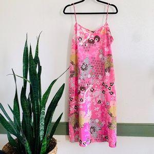 Natori Pink Modern Floral & Bird Satin Chemise XL